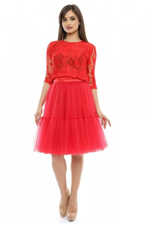 Rochie rosie din doua piese: fusta si bluza