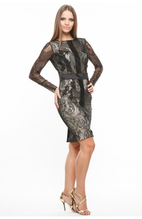 Rochie neagra elastica cu broderie manuala si margele