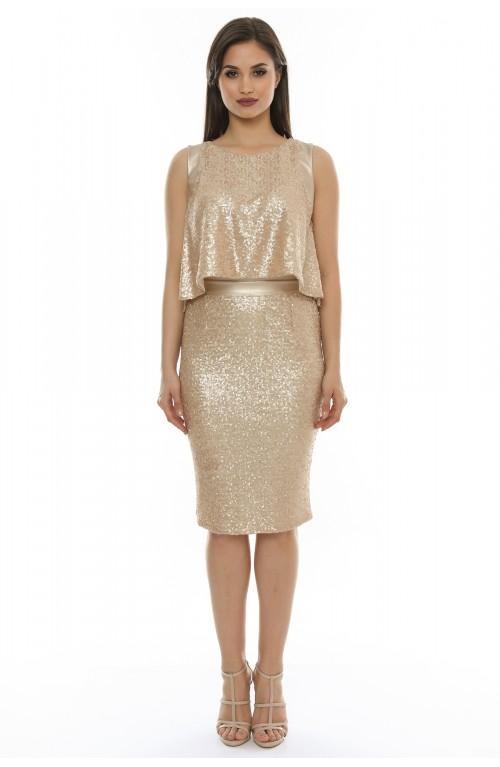 Rochie din paiete cu garnitura piele aurie