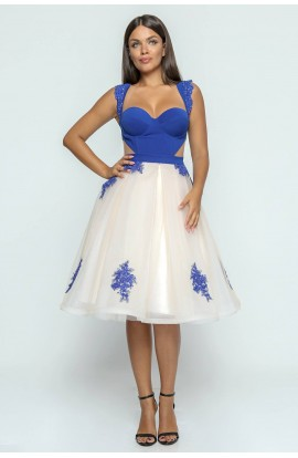 Rochie corset cupe si aplicatii manuale de dantela