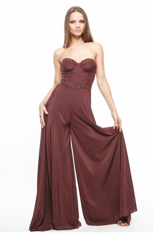 Rochie salopeta maro din crep cu corset