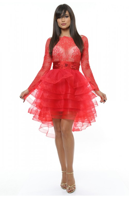 Rochie rosie, mini, cu volane, de ocazie