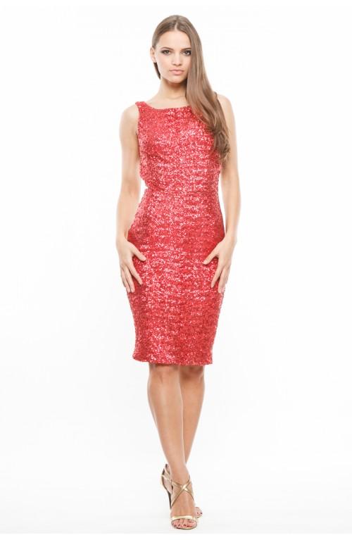 Rochie rosie din paiete cu spatele gol