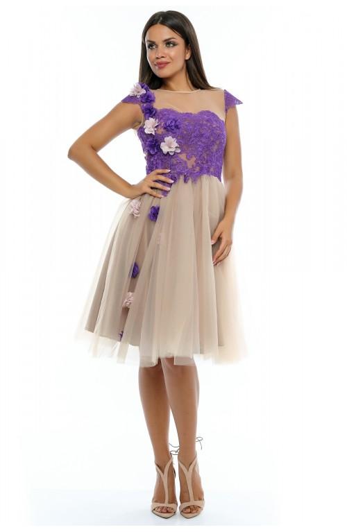 Rochie din tull si dantela cu ornamente florale